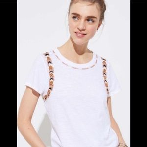 LOFT White Beaded T-Shirt